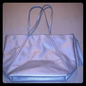 Silver-Zipper Closure Tote Bag